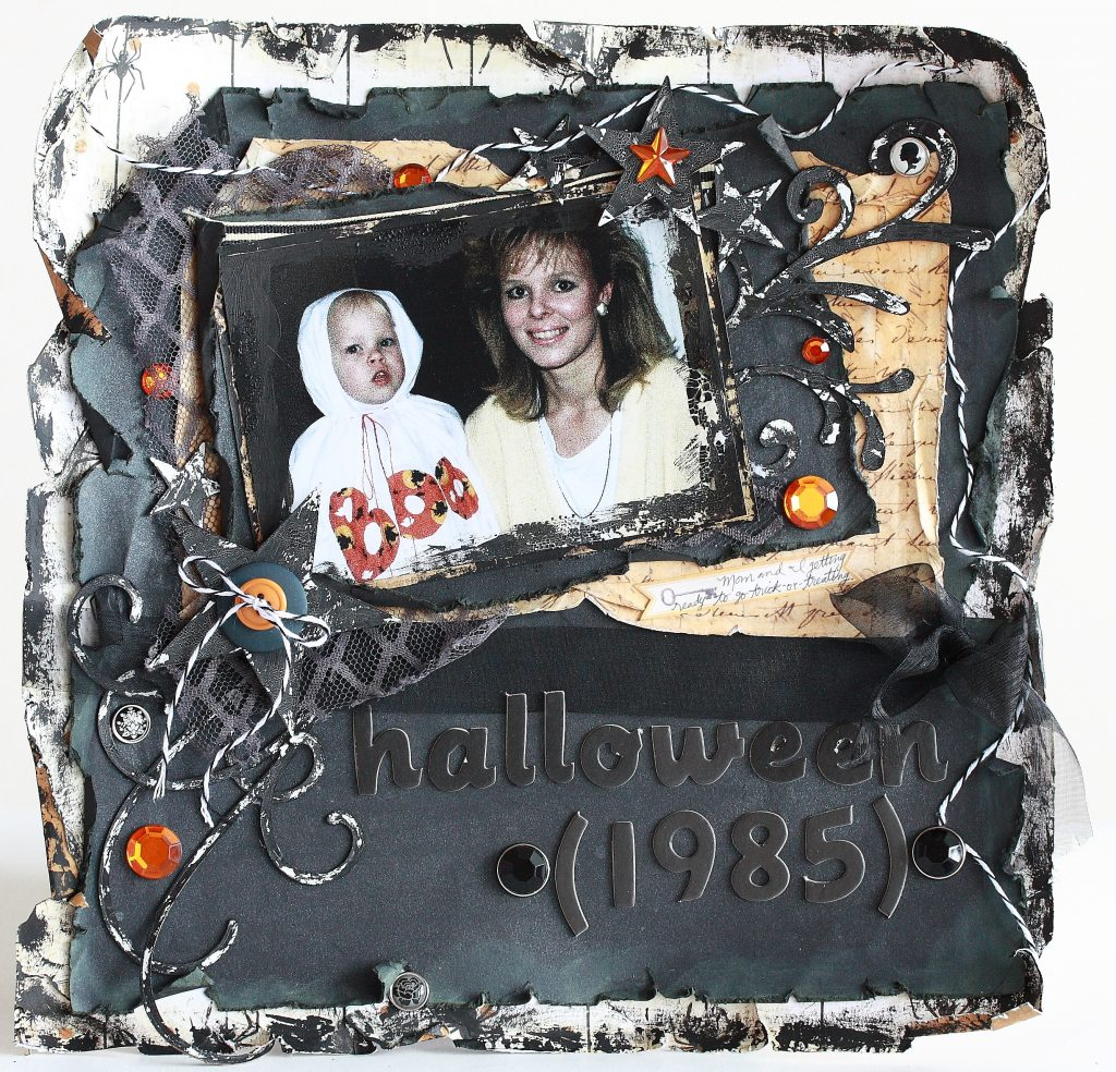 Halloween shabby chic goth scrapbook layout