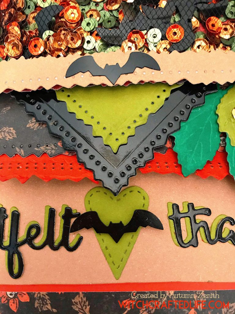 Halloween Heartfelt Thanks Bat Sequins Shaker Card