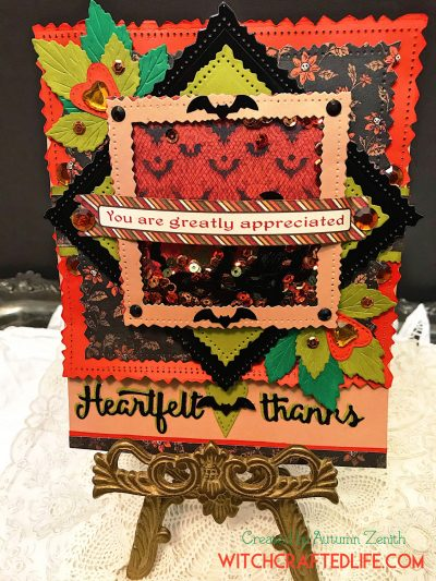 Heartfelt Thanks Bat Sequins Shaker Card