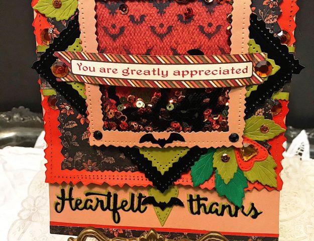 Heartfelt Thanks Bat Sequins Shaker Card
