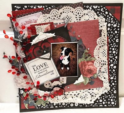 Only Love Lets Us See pet themed scrapbook page by Autumn Zenith