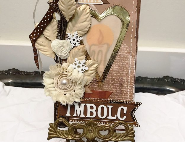 Shabby chic lit from within oversized handmade tag for Imbolc