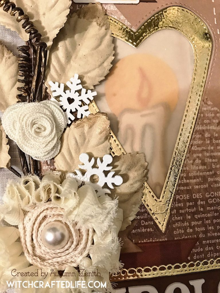 Shabby chic oversized lit from within candle tag for Imbolc