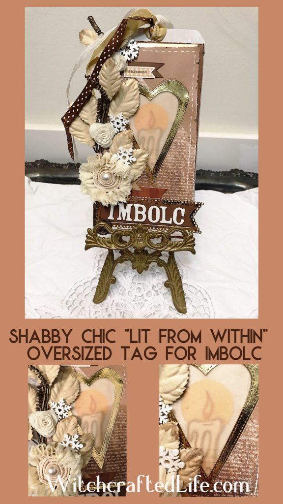 How to make a shabby chic candle themed tag for Imbolc