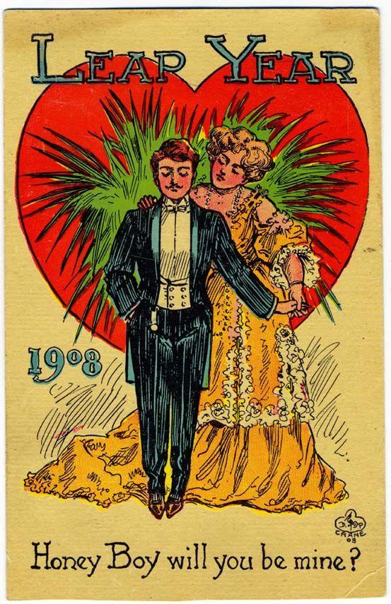 Vintage 1908 Leap Year postcard woman proposing to a man