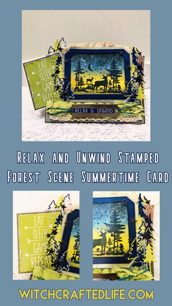 Ink blended woodland deer summertime card