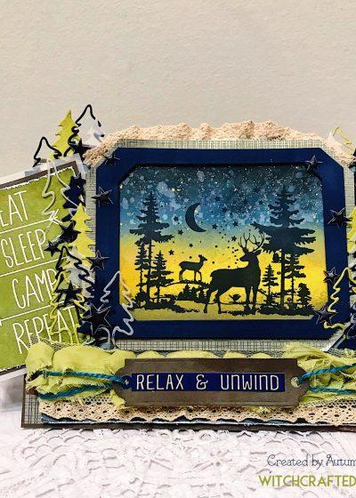Ink blended woodland deer summertime card