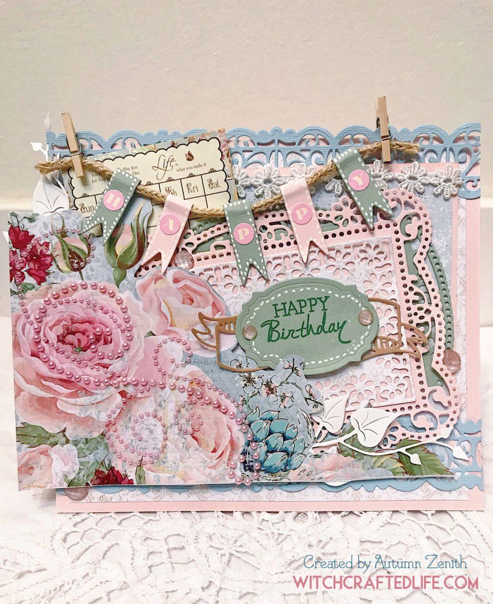 Feminine, shabby chic spring pastel birthday card