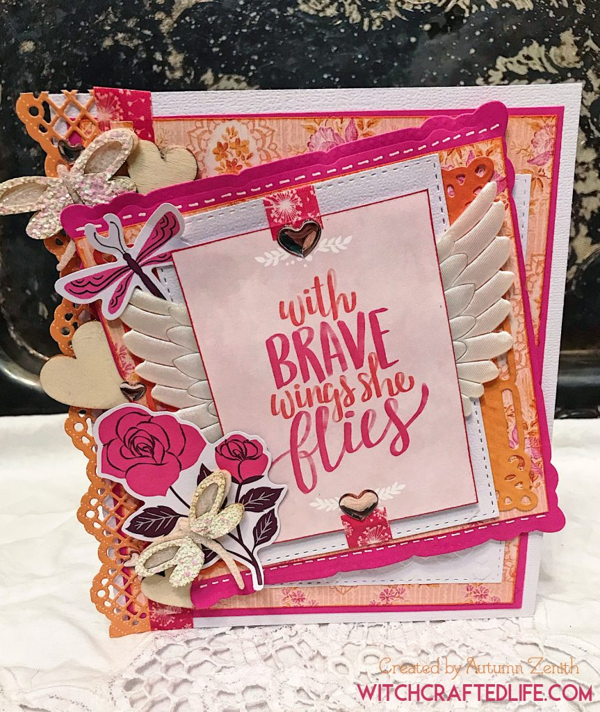 With Brave Wings She Flies pink and orange handmade encouragement card