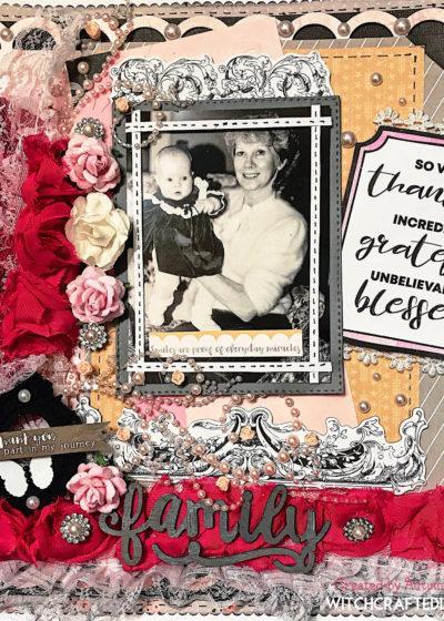 Shabby chic grandma and grandchild scrapbook layout