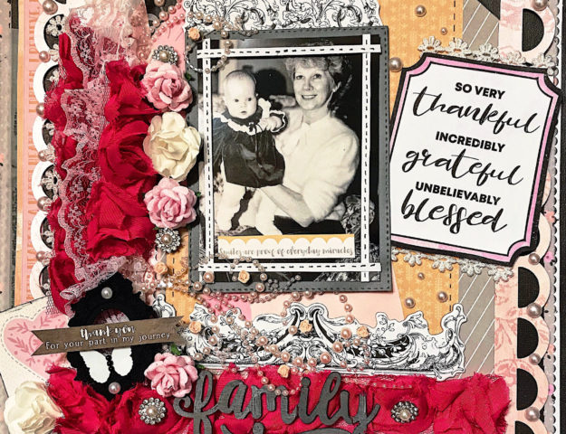 Shabby chic grandma and grandchild scrapbook layout