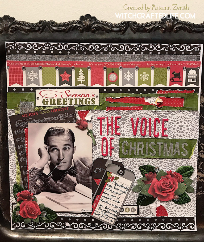The Voice of Christmas Bing Crosby music themed scrapbook page - Christmas in July layout