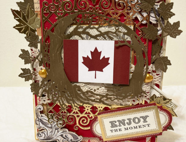 Enjoy the Moment shabby chic Canada Day card for July 1st