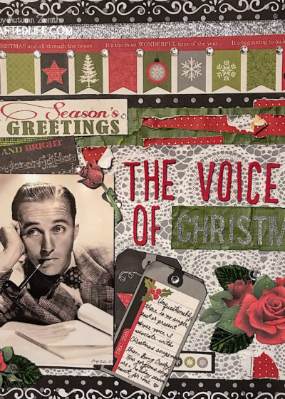The Voice of Christmas Bing Crosby music themed scrapbook page