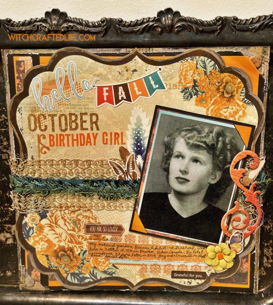 October Birthday Girl Heritage Scrapbook Page - fall themed vintage family photo layout.