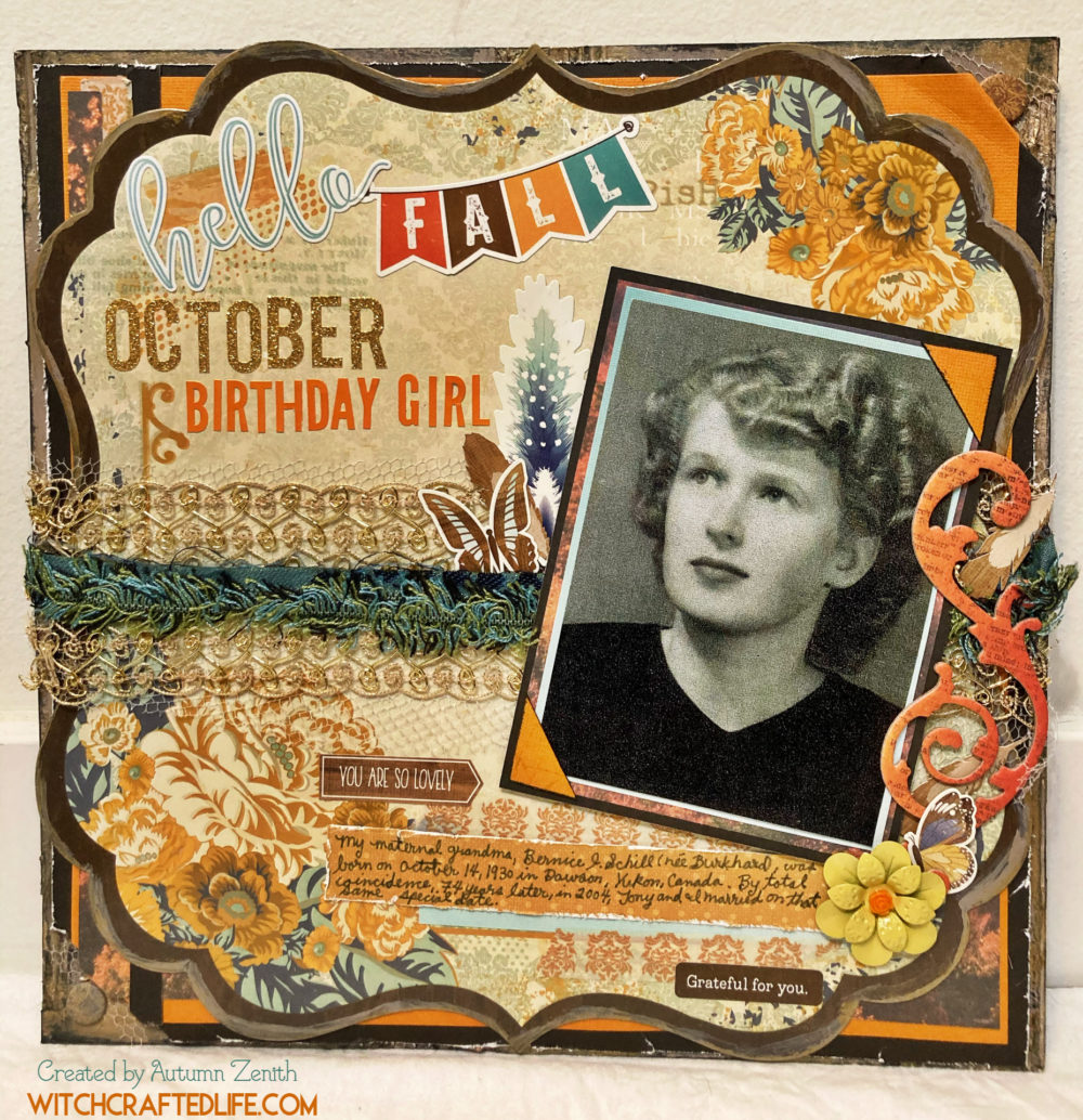 October Birthday Girl Heritage Scrapbook Layout