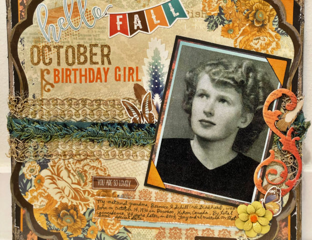 October Birthday Girl Heritage Scrapbook Layout