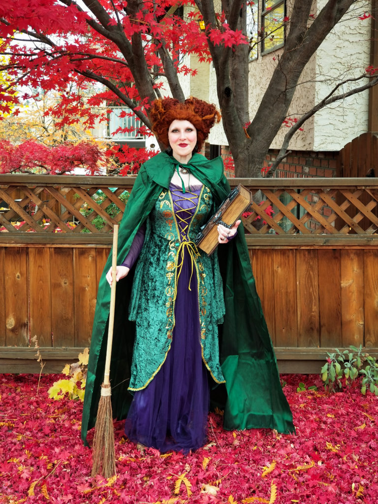 Real life witch Autumn Zenith dressed as Winifred Sanderson from the 1993 Disney movie Hocus Pocus.
