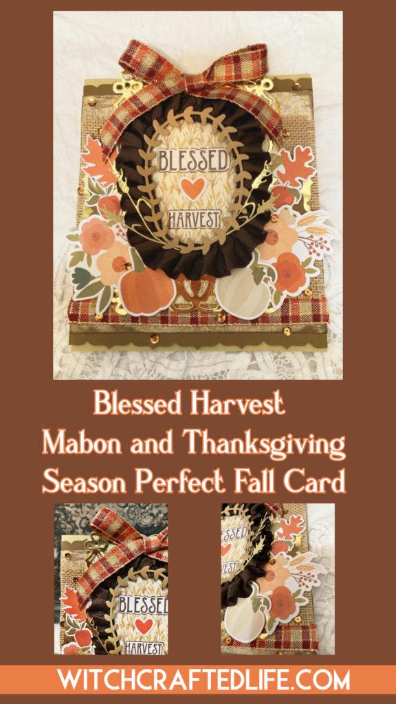 Shabby Chic Blessed Harvest Mabon Thanksgiving Card.