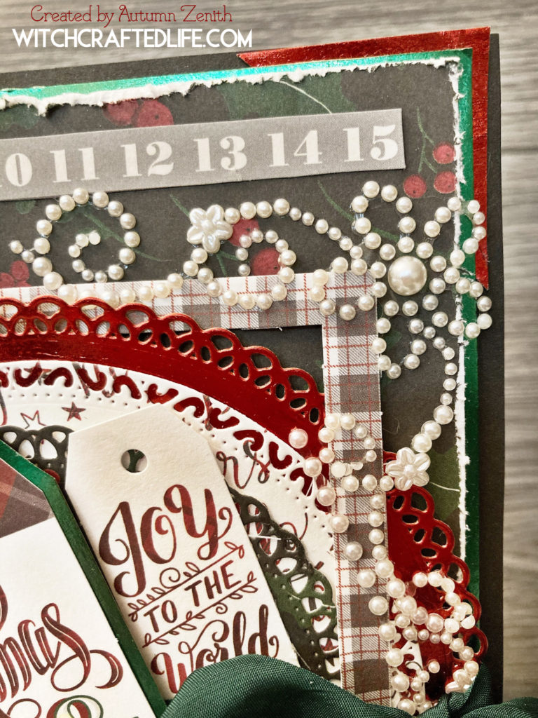 Festive shabby chic red, black, and green Christmas card