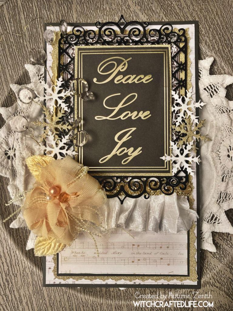 Elegant black, gold and cream handmade Christmas or New Year's card