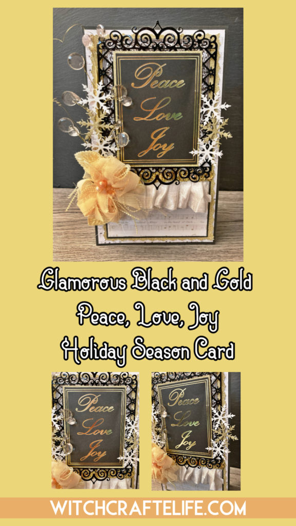 Elegant black, gold and cream handmade Christmas or New Year's card