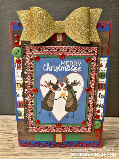Cute and Festive Merry Christmoose Christmas Card featuring the O Canada Christmas collection from Photo Play Paper.
