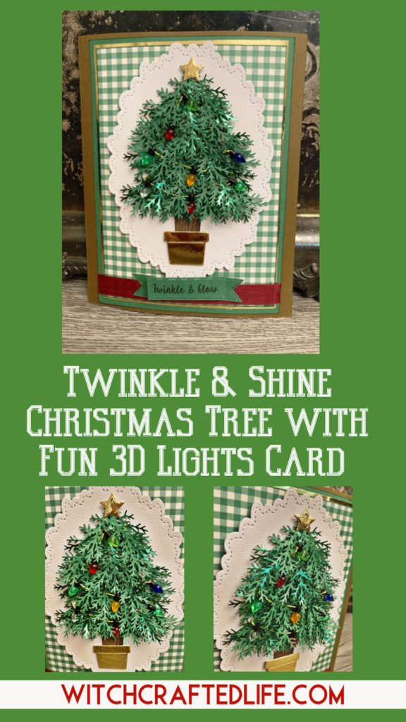 Handmade Twinkle and Shine Christmas Tree Card with Christmas Light Embellishments