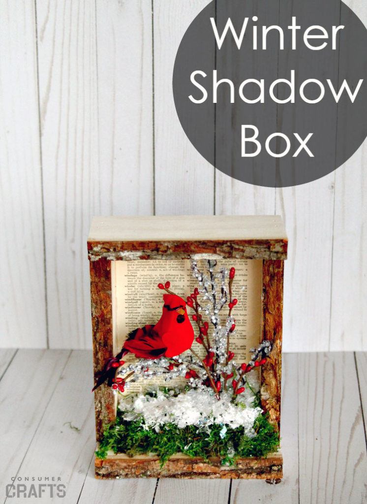 Winter Cardinal Shadow Box | 50 Awesome DIY Yule Decorations and Craft Ideas You Can Make for the Winter Solstice