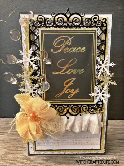 Glamorous black and gold Peace, Love, Joy Christmas card