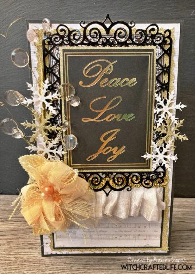 Glamorous black and gold Peace, Love, Joy Christmas card