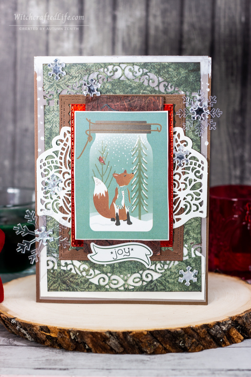 Cute Wintertime Snowflake and Woodland Fox Card