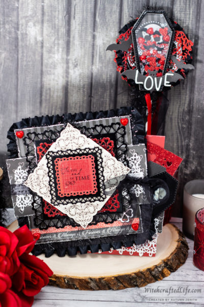 Dark and Romantic Valoween Card and Shaker Wand Set | Goth Valentine's Day Crafts