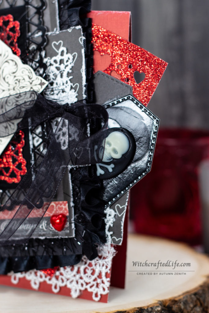 Dark and Romantic Valoween Card and Shaker Wand Set - Goth Valentine's Day Crafts
