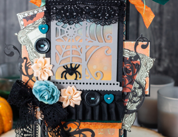 Beautiful Peach and Teal Halloween Window Oversized Black Tag