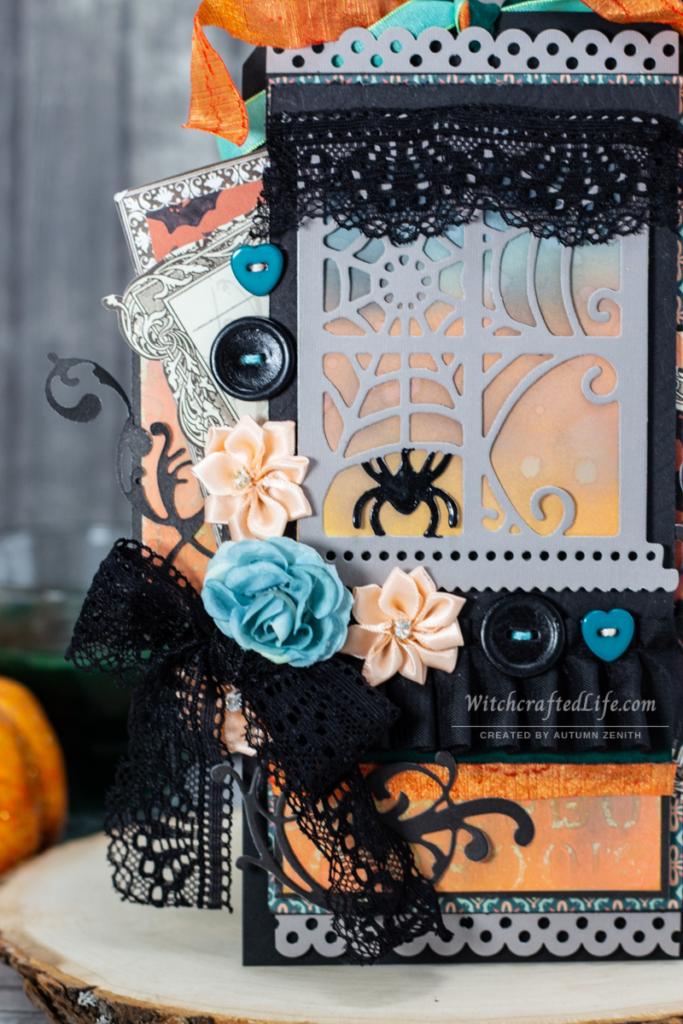 Beautiful Peach and Teal Halloween Window Oversized Black Tag