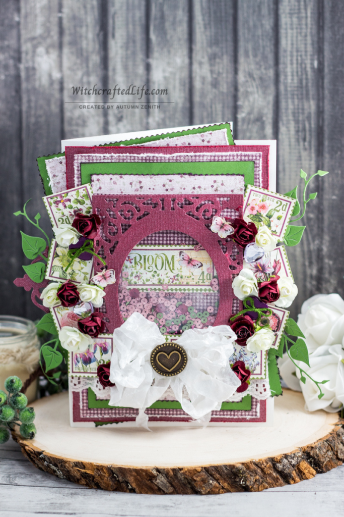 Bloom Graphic 45 Shabby Chic Spring Card with Seam Binding Bow