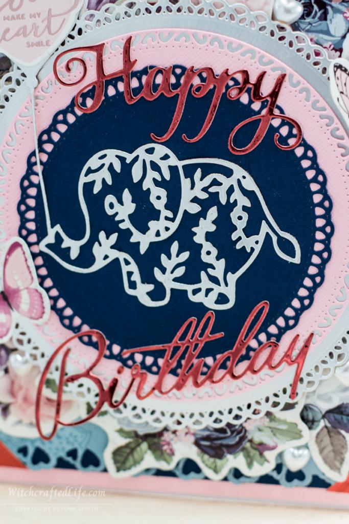 Cute handmade shabby chic Happy Birthday elephant card