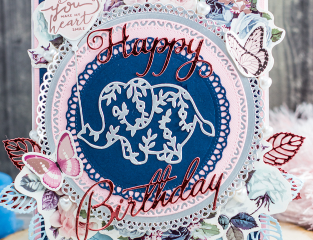 Cute handmade shabby chic Happy Birthday elephant card