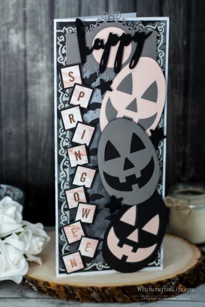 Happy Springoween Pumpkin Easter Egg Oversized Slimline Card - Goth Spring Card