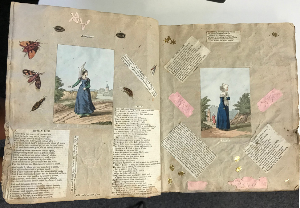 Late Regency era two-page scrapbook spread dating to c. 1890 - 1930.