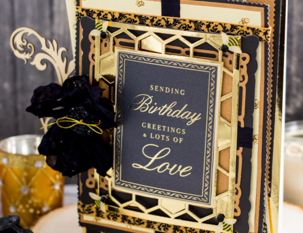 Bee and Honeycomb Themed Elegant Shabby Chic Masculine Birthday Card