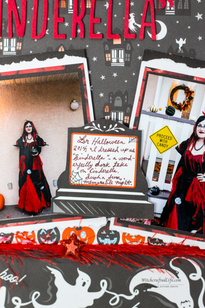 Sweetly Spooky Sinderella Halloween Rose, Pumpkin, and Ghost Themed Scrapbook Page