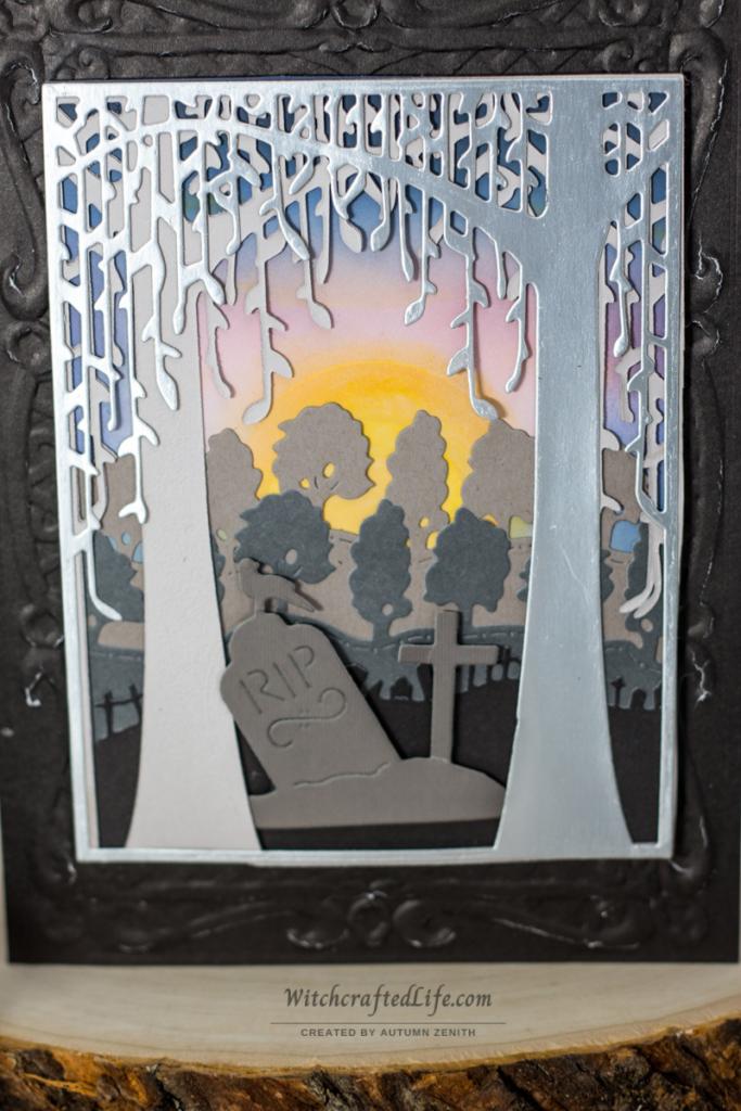 Ink Blended Summer Sunrise over the Graveyard Spooky Halloween Card