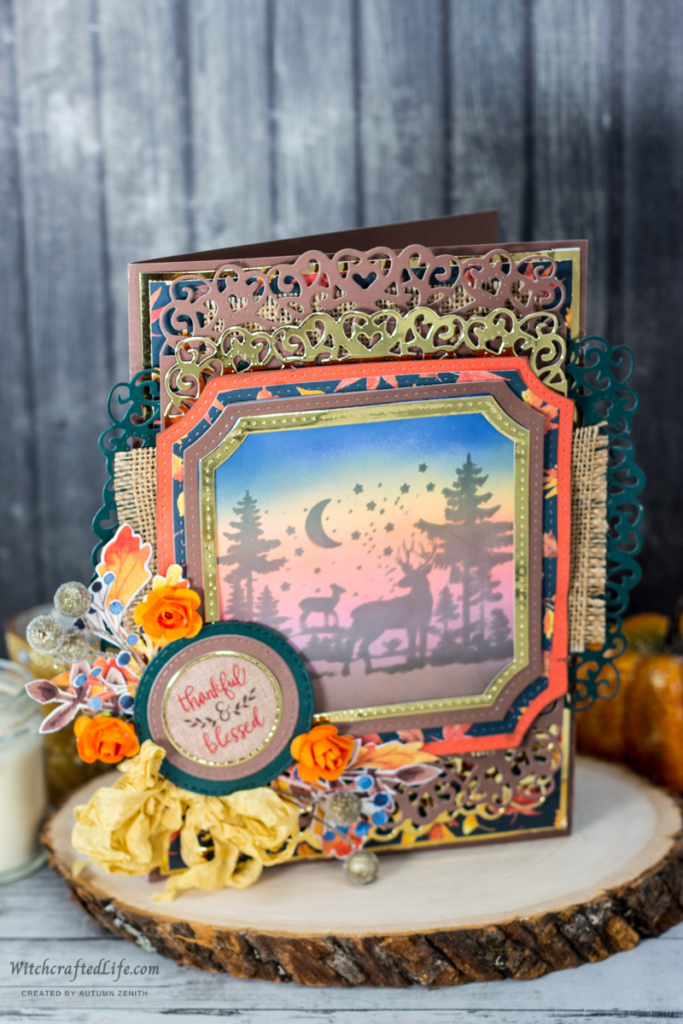 Thankful and Blessed Ink Blended Woodland Deer Sunset Fall Thanksgiving Card