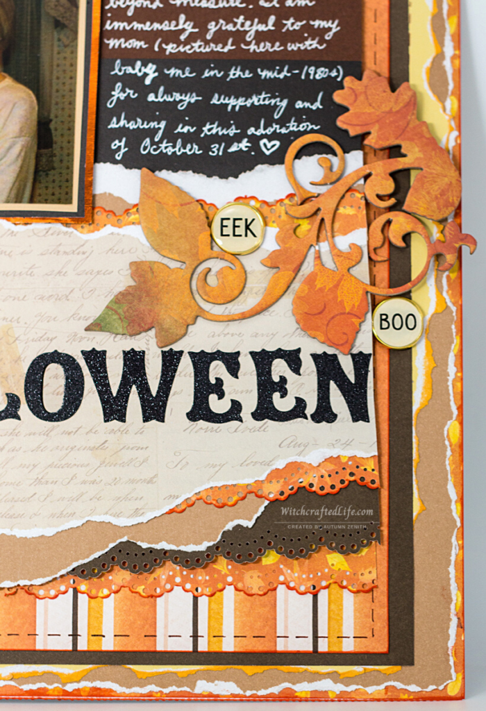 Warm fall colour palette shabby chic Born Halloween Lover 1980s inspired scrapbook page
