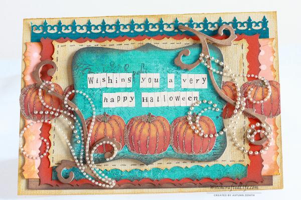 Beautiful shabby chic fall pumpkin and rhinestone Halloween card