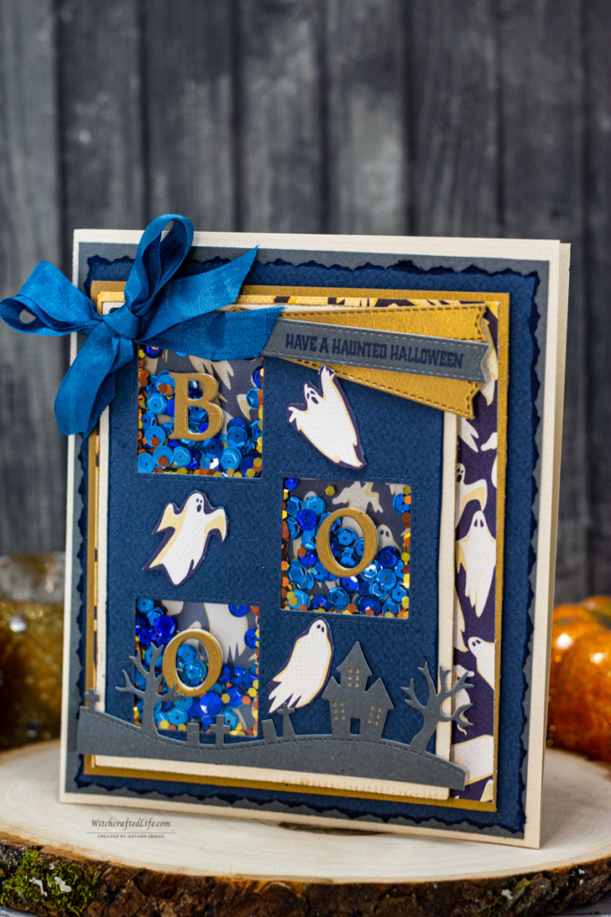Chicly Spooky Multi-Window Halloween Ghost Shaker Card