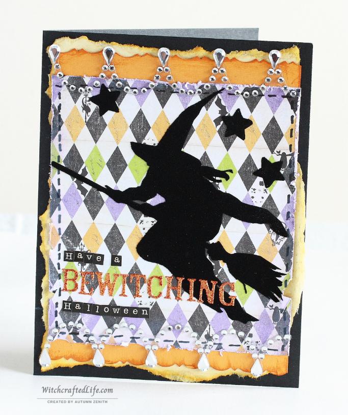 Elegant, distressed shabby chic witch themed handmade Halloween card