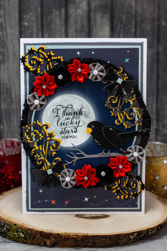 Enchanting Blackbird, Full Moon, and Flower Wreath I Thank My Lucky Stars For You Card